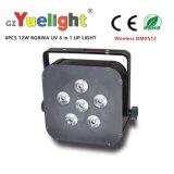 Luz ULTRAVIOLETA de la IGUALDAD de Rgbaw LED de la batería sin hilos de DMX512 6PCS*12W
