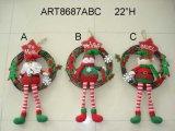 """9.5 """" guirlande de décoration de Noël de H Santa, de bonhomme de neige et d'elfe, 3 Asst"""