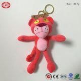 Trousseau de clés animal de jouet de tigre mou bourré par peluche rose de marque de panthère