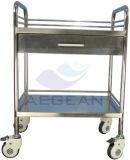 AG-Ss040 tres capas con una carretilla del tratamiento de hospital del cajón