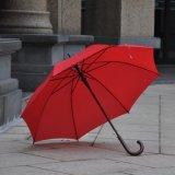 حمراء مستقيمة خشبيّة مقبض عصا مظلة لأنّ ترقية