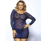 Blaue lange Großhandelshülsen-reizvolle Wäsche für fette Frauen