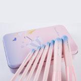 7PCS新しいデザインピンクの鉄の箱が付いている装飾的な構成のブラシセット