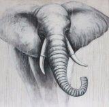 強力な白黒象の手塗りの油絵