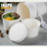 Tazón de fuente de ensalada de papel disponible impreso aduana con la tapa