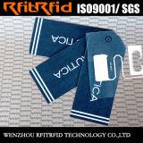 Étiquette passive de tissu d'IDENTIFICATION RF de logo de Customed de prix bas de fréquence ultra-haute