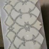 Дешевая каменная плитка, мозаика Carrara мраморный, белая водоструйная мозаика