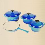 Il Cookware del ghisa dello smalto ha impostato in 4PCS nel colore blu