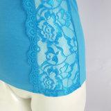 Azul marino camisola de encaje de seda