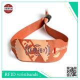 Wristbands tecidos com o slider do PVC para o presente ou o partido