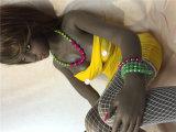 [132كم] أسود إفريقيا بنت سليكوون دمية مع كبير [بووبس] دمية لأنّ رجال