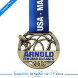 Klassische fechtende Sport-Medaille mit Abzuglinie