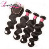 Fechamento 100% peruano do cabelo da onda do corpo do bom Virgin do mercado 4*4