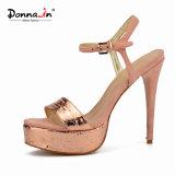 (Donna-в) сандалии платформы женщин высокой пятки великолепный картины способа тонкие