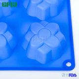 Bleu carré de moulage de gâteau de fleur des silicones 6 respectueux de l'environnement de catégorie comestible