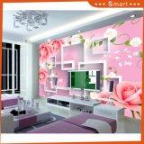 3D Rose Rose et forme carrée blanche pour la décoration intérieure Peinture à l'huile