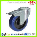 80mm blaue elastische Gummibolzenloch-Fußrolle (G102-23D080X32)