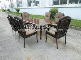 Compitiveの屋外の庭Aluminum+の鋼鉄7PCS家具のソファーはTable+Chairsによってセットした