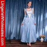 Het klassieke Blauwe Kostuum van de Prinses van Ballgown van het Satijn met de Bekleding van Tulle Peplum
