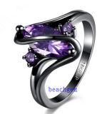 黒によってめっきされるカラーCZの宝石類のリング(R0843)