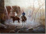 Peinture à l'huile de trois cowboys