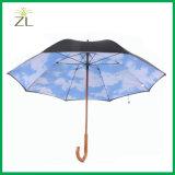 Vente en gros de qualité parapluie en bois découpé promotionnel de traitement de bâton de 23 pouces