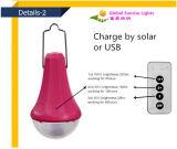 o diodo emissor de luz 3W solar ilumina o tipo recarregável solar inteligente do nascer do sol da lâmpada do diodo emissor de luz dos jogos solares da cor verde