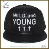 Sombrero de cuero del Snapback de Hip Hop del bordado negro de encargo