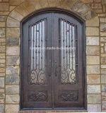 Portas da rua superiores personalizadas da entrada do dobro do ferro feito do arco