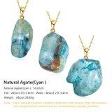 De mooie Onregelmatige Natuurlijke Geplateerde Juwelen van de Halsband van de Tegenhanger van de Steen van het Agaat Goud