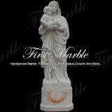 Virgin Mary Mano-Intagliato della statua di Metrix Carrara del granito della pietra del marmo della scultura con il bambino Ms-1015