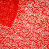 Roter elastischer Vier-Leaved Klee-afrikanisches Spitze-Gewebe (NF1004)