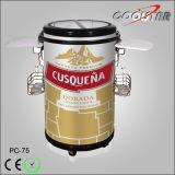 Refrigerador de festa de bebidas de barril comercial redondo, refrigerador de refrigerador portátil portátil portátil para garrafa de cerveja (PC-75)