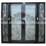 Best Saling Square Top Wrought Iron Double Entrance Doors