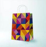 Bolso de compras blanco modificado para requisitos particulares del regalo del papel de Kraft con la maneta Twisted