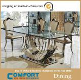 현대 디자인 큰 유리제 가구 고정되는 식탁