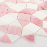 Dreieck-rosafarbenes und weißes Glasfliese-Mosaik für Küche Backsplash