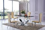 Sala de jantar de vidro moderna ajustada/tabela de jantar com 6 cadeiras