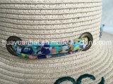 Papierflechten-Strand-Art gedruckter Schal Embroiery Emb Ösen-Ordnung Floopy Strohhut
