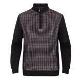 T-shirt d'hommes de tirette de chemise de collier de stand de mode long
