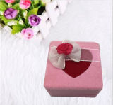 Bow를 가진 심혼 Shaped Pink Color Flocked Velvet Jewelry Box