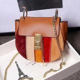 O contraste do saco de ombro das senhoras das bolsas do desenhador colore o couro Emg4697 de couro