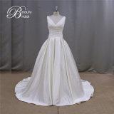 Einfache Rüsche Gridal bekleidet A - Zeile Fleck-Hochzeits-Kleid