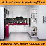 Armário de cozinha de laca de cor vermelha
