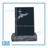 Pietra tombale naturale nera del granito per stile americano