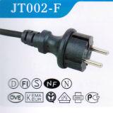 Câble d'alimentation 2pins européen approuvé de VDE avec la fiche (JT002-F)