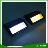 2LED la scala solare di piccola dimensione bianca calda bianca della parete dell'acciaio inossidabile LED illumina la lampada esterna