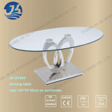 De ovale Aangemaakte Koffietafel van het Glas met de Benen van het Roestvrij staal