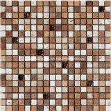 Деревенское Style Marble Mosaic Tiles с Plated Glass в 2016 (f 1221)