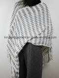 Акриловая повелительница Зима Тепл Бел/серый Striped окаимленный связанный плащ способа